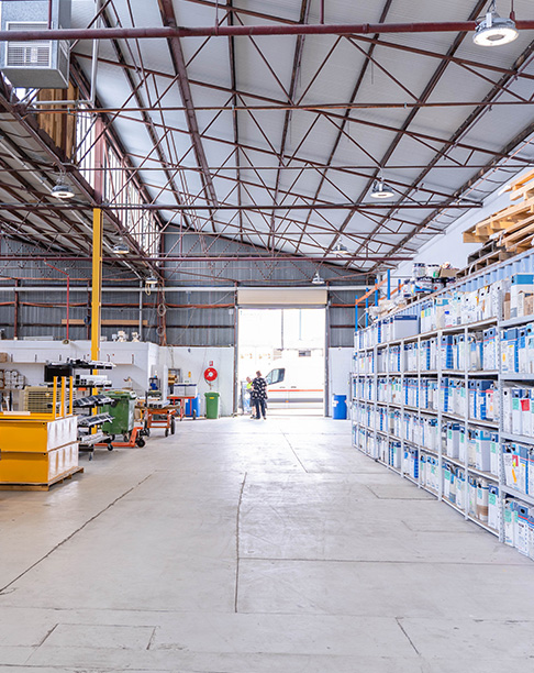 Warehouse of a powdercoating services company